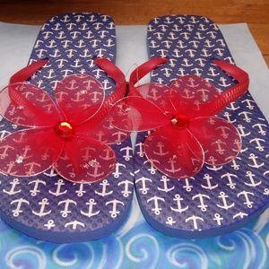 Red, white & blue women flip flop